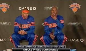 Carmelo Anthony y Chauncey Billups fueron presentados como Knicks antes de su primer triunfo (Foto Captura de pantalla MSG)