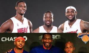 Wade-LeBron-Bosh frente a Carmelo-Amare-Billups. ¿Y tú, con quién te quedas?