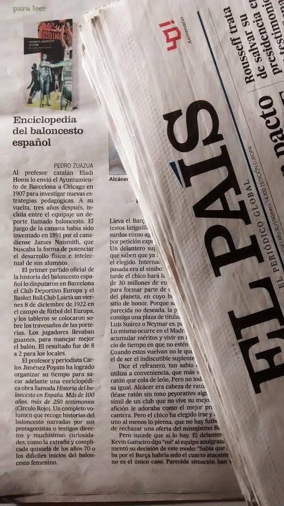 El diario generalista 'EL PAÍS' recomendó la lectura del libro 'Historia del Baloncesto en España' el pasado mes de agosto del 2016