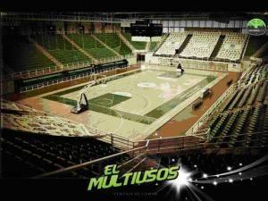 Así luce el Multiusos de Cáceres con las zonas y la línea de 6,75 (Foto: Cáceres 2016 basket)