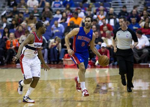 José Calderón en 2013 con los Pistons