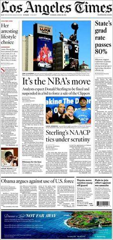 L.A. Times contra el racista Sterling (Foto: latimes.com).