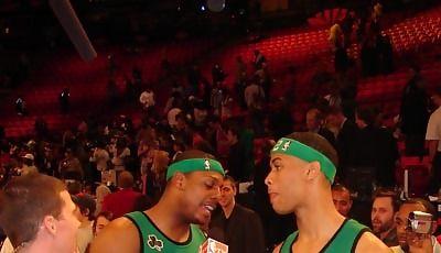 Gerald Green y Paul Pierce, protagonistas del concurso de mates (Foto: José Luis Espeso Navas)