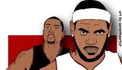 LeBron y Dwyane (Foto: aronthearist.com).